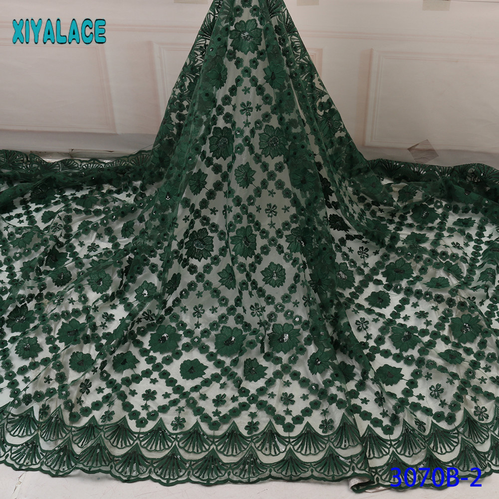 2019 High Quality Latest African Lace Fabric New Sequins Lace Fabric French Tulle Lace Fabric Nigerian Wedding Green KS3070B