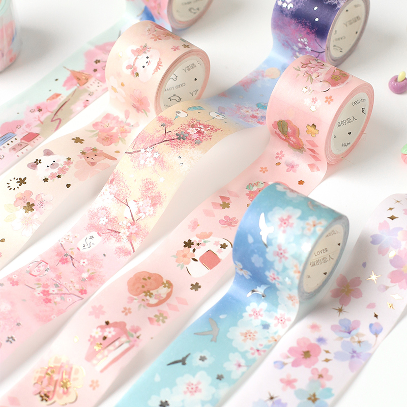 Cute Cherry Blossom cat Gold Foil Washi Tape Japanese Masking Tape For Scrapbook Bullet Journal Planner Arts Crafts