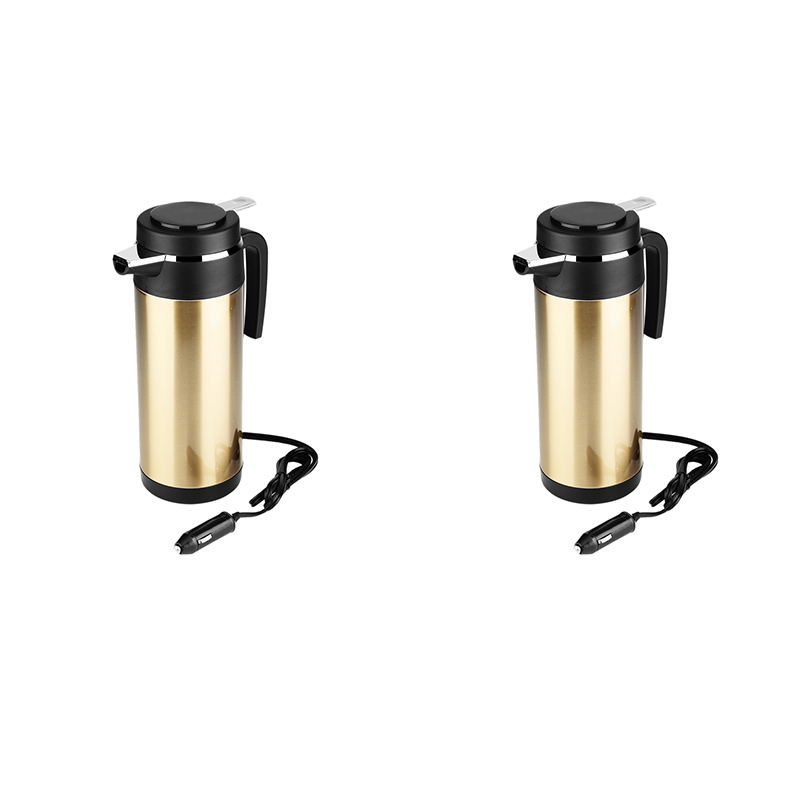 1200Ml Stainless Steel Electric Car Kettle Cigarette Lighter Car Kettle Heated Cup Water Boiler Heating Drinking Cup Mug Bottle