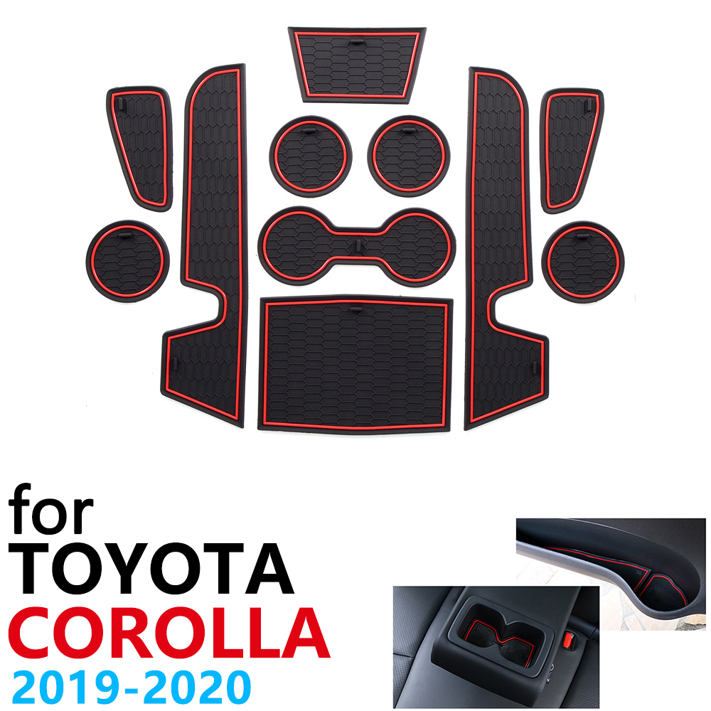 Anti-Slip Rubber Cup Cushion Door Groove Mat for Toyota Corolla E210 210 2019 2020 2021 Accessories Car Stickers mat for phone