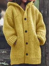 Large size loose women's sweater casual hooded solid color