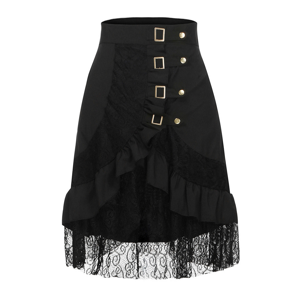 JAYCOSIN Novelty Women's Skirt Long High Waist Steampunk Clothing Party Club Wear Punk Gothic Retro Black Lace Solid Girls Skirt