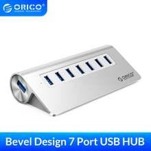 Usb разветвитель orico алюминиевый с 7 портами usb 30 и адаптером