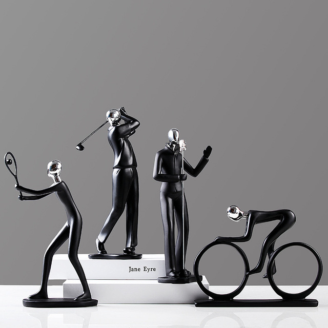 2019 Resin Multi-action decoration Simple Man Figurines Football Bicycle Golf Miniatures Guitar Saxophone Home Deoration E 5