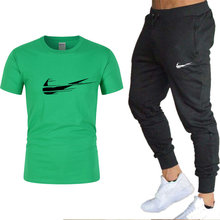 Men's sports T-shirt + pants suit high quality cotton printed T-shirt pullover sports suit new fashion products 2021