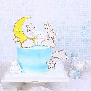 Image 2 - 1 Juego de pastel de fiesta de cumpleaños con tema de nubes y Luna y estrellas, decoración de feliz cumpleaños para tarta