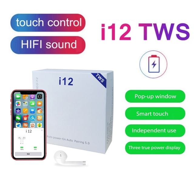 i12 tws Wireless Bluetooth 5.0 Earphone TWS i12 Touch Control Earbuds i 12 tws HiFi Sound Headphones For iphone 10 PK i7s i9 i18 1