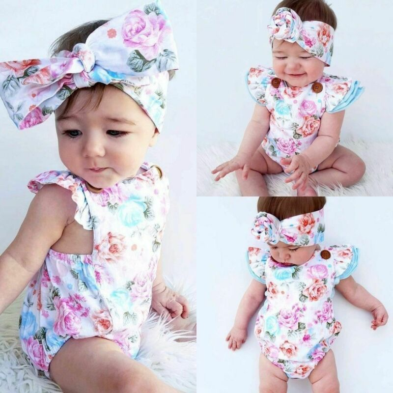 Hot Sale Baby Girl Floral Newborn Headband Infant Jumpsuit Clothes Outfit