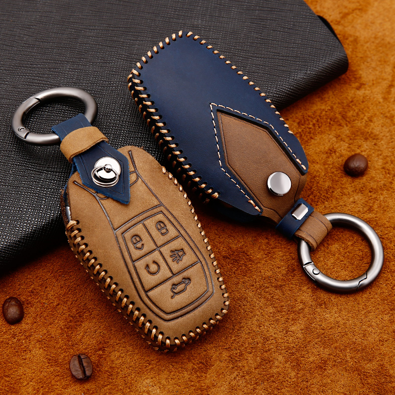 Leather Car Key Case Cover For Soueast DX3 DX5 DX7 Remote Holder Protective Sleeve Auto Holder Shell Car-Styling key cover
