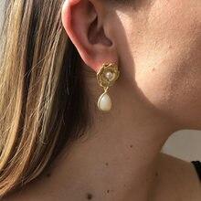 2021 retro pearl earrings female temperament elegant resin earrings simple flower drop-shaped earrings woman