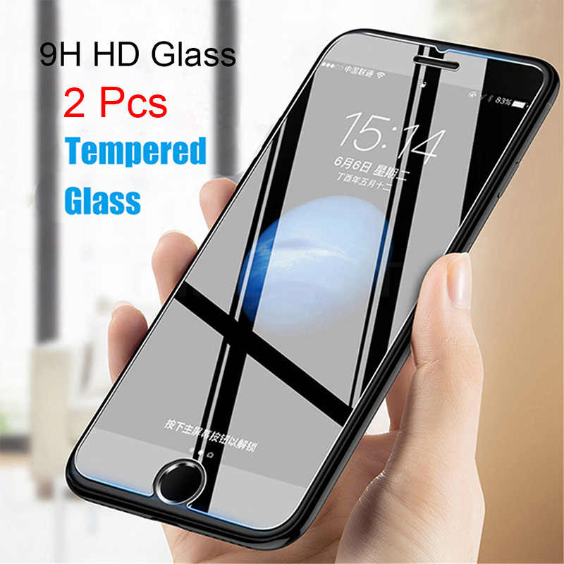 2 Pcs Tempered Glass untuk iPhone 5 5S 5C 6 6S 7 7 Plus X 10 11 Pro max Screen Protector Case untuk iPhone SE 5SE Kaca Phone Funda