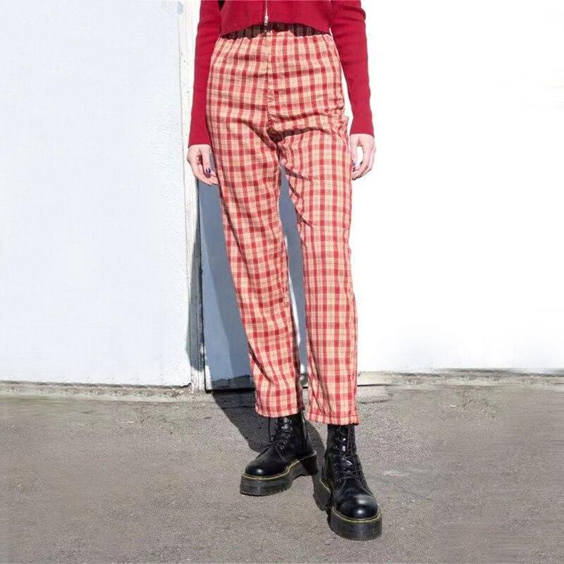 Women High Rise Elasticated Waist Checked Straight Pants