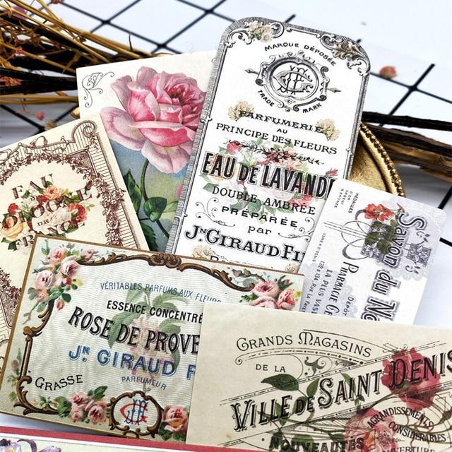 14Pcs/Pack Vintage European Floral Label Ticket Tag Sticker DIY Scrapbooking Album Junk Journal Planner Decorative Stickers