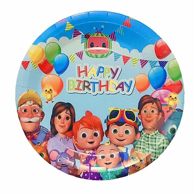Cocomelon тема Семья вечерние скатерть бумажные стаканчики и тарелки соломинки Happy День рождения вечерние поставки детский игрушечный детский ...