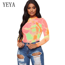 YEYA New Fashion Tie Dye Long Sleeve Round Neck Bodysuits Elegant Vintage Sexy Women Playsuits Femme Casual Mono Mujer Verano