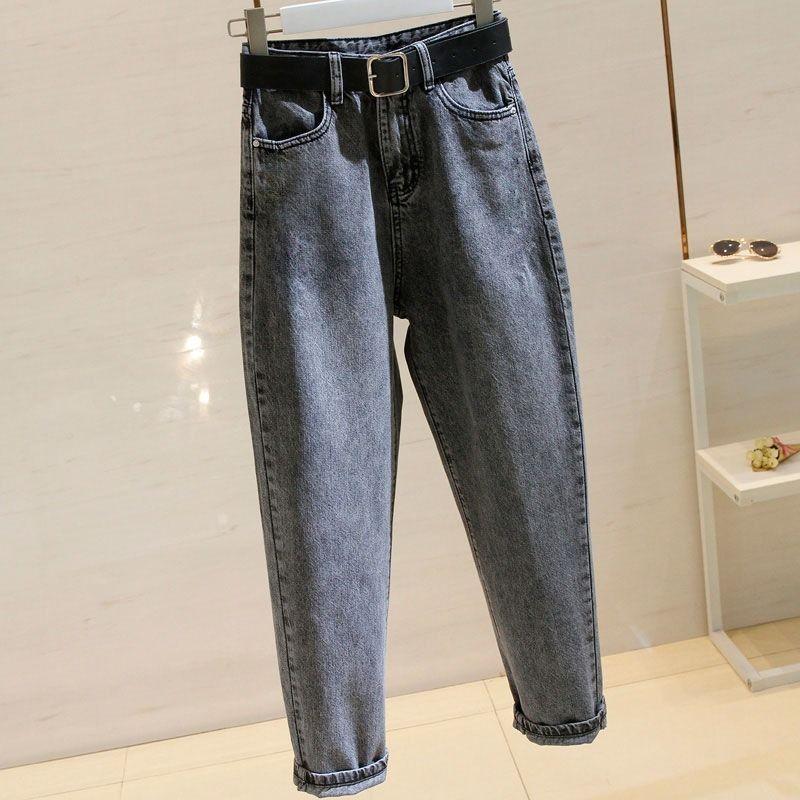 2020 Smoke Grey Harlem Jeans Female Korean Version Loose And Slim Student High Waist