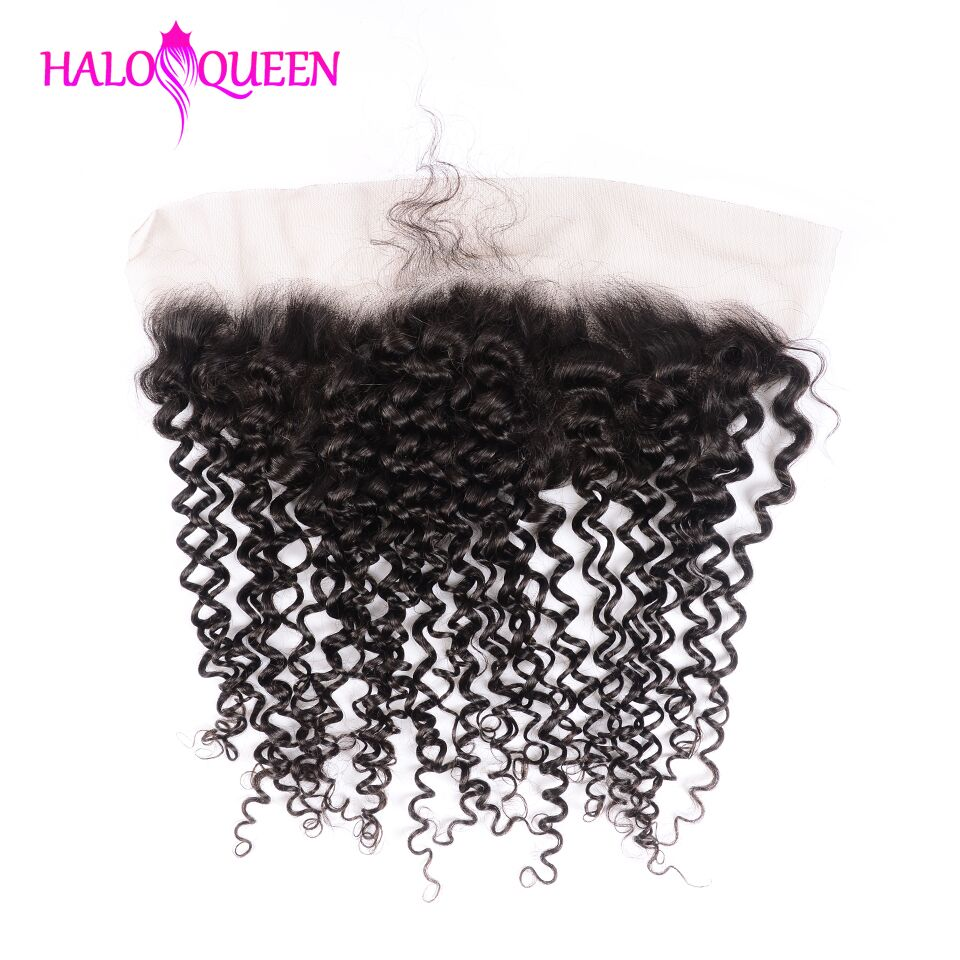 HALOQUEEN Hair Kinky Curly Remy 13*4 Closure Brazilian Human Hair Lace Closure Natural Color Hair Frontal With Baby Hair