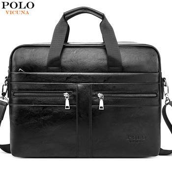"VICUNA POLO Men's Laptop Briefcase Leather Business Portfolio Male 15.6"" Computer Handbag Classic Office Messenger Crossbody Bag"