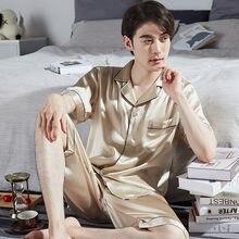 100% настоящая Шелковая пижама для мужчин dormir ночная рубашка
