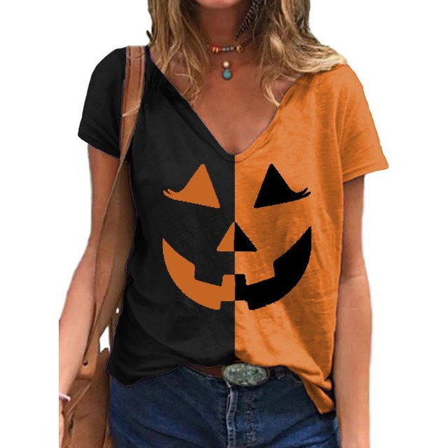 HalloweenT Shirt Women Pumpkin Face Print Women Shirt V Neck Short Sleeve Harajuku Tshirts Tee Women Harajuku Plus Size Tops