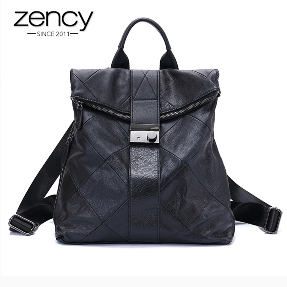 Zency 100% Cowhide Leather Anti-theft Women Backpack Outdoor Travel Bag Large Capactiy Girl's Schoolbag Daily Knapsack Black