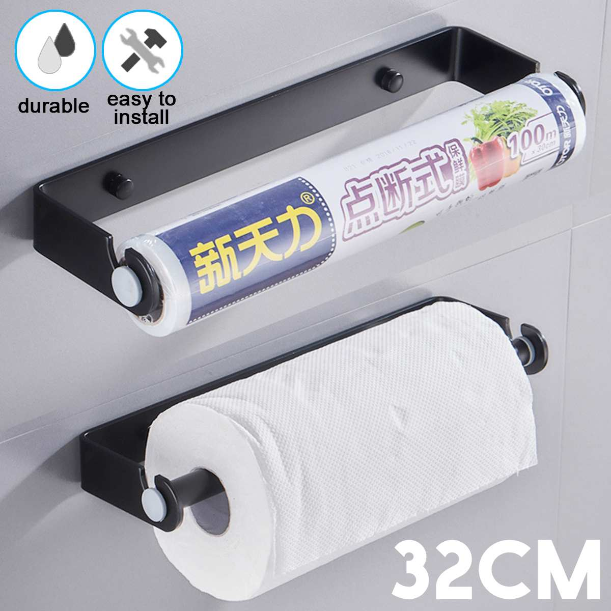 Space Aluminum Kitchen Paper Holder Under Cabinet Wall Mount Hanging Roll Rack Multi-use Bathroom Towel Rack Toilet Paper Holder