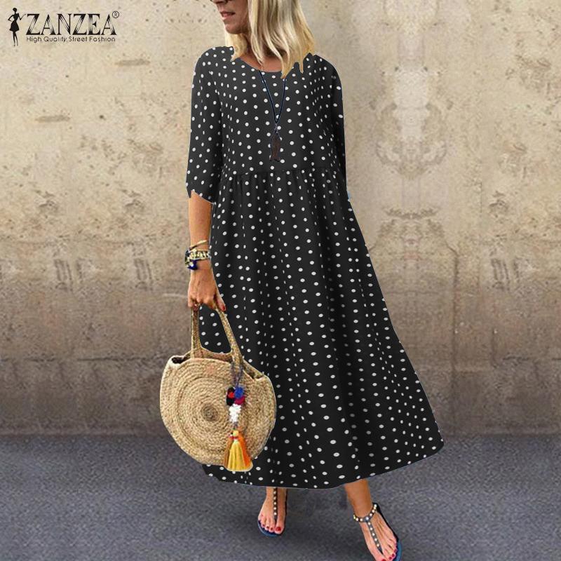 €10.9 39% СКИДКА|ZANZEA богемное летнее платье в горошек, туника Vestidos, женское весеннее Платье макси с принтом, женское платье с рукавом 3/4|Платья| |  - AliExpress
