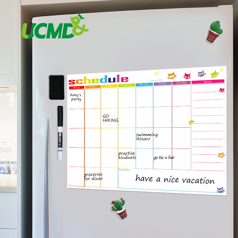 Magnetic Whiteboard Calendar Sticker Memo Message Board Fridge Magnet Monthly Weekly Planner Table Learning Schedule To Do List