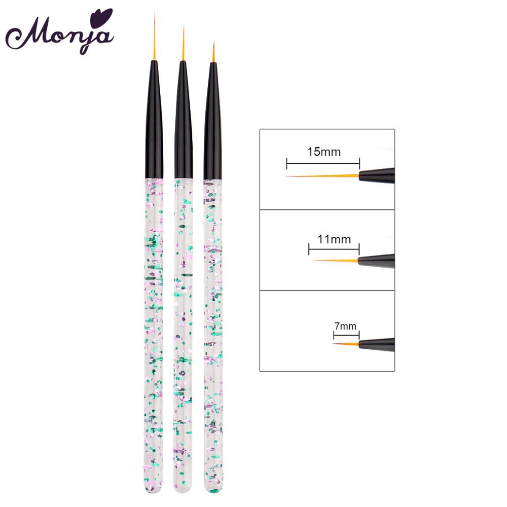 Monja 3 Pcs/Set Acrylic Handle Nail Art French Liner Lines Stripes Painting Brush Pattern Design DIY Drawing Pen Manicure Tools