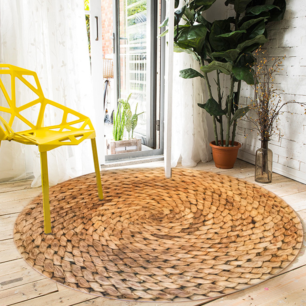 Round Carpet Mat Chemical Fiber Modern Living Room Bedroom Carpet Floor Coffee Table Rug Anti-Skid Cotton And Linen Woven Decor