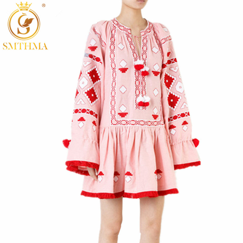 SMTHMA 2019 Women Vintage Ethnic Flower Embroidery Cotton Linen Tunic Casual Dress Hippie Boho People Dress