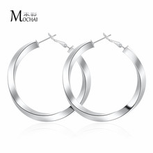 Shiny Thick Polish Hoop Earrings For Women Silver Color Round Circle Ear Ring Earring aretes Mujer 50MM ZK40(China)
