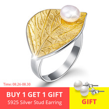 Lotus Fun Real 925 Sterling Silver Natural Pearl Handmade Designer Fine Jewelry Creative Open Ring Leaf Rings for Women Bijoux(China)