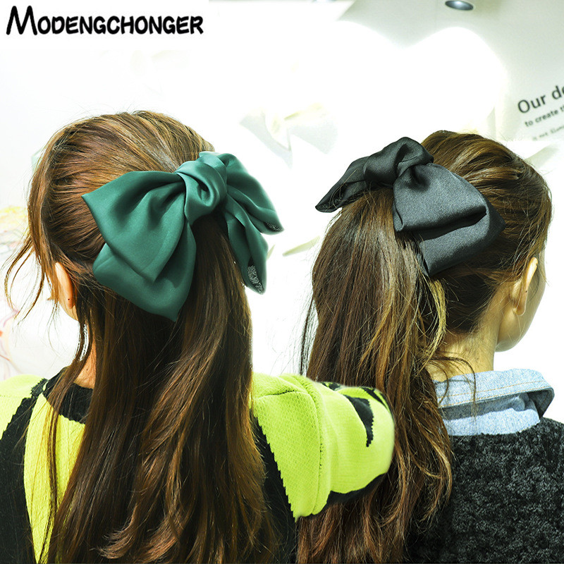 2020 High Quality Big Large Hair Bow Barrettes 2 Layers Chiffon Hair Clips For Women Hairgrips Ponytail Clips Hair Accessories