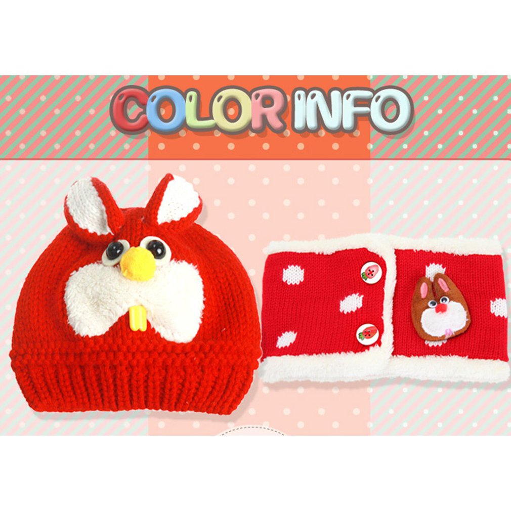 Winter Fashion Baby Bunny Hat Scarf Two-Piece Set Comfortable Knitted Hat Kids Cute Knitting Cap Outdoor Baby Warm Hat