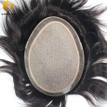 """Base de seda indiano remy peruca do cabelo humano dos homens couro cabeludo natural em linha reta cor natural 6 """"x 8"""" 7 """"x 9"""" 8 """"x 10"""" sytem do cabelo para o sexo masculino"""
