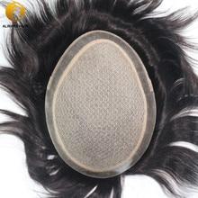 """Zijde Basis Indian Remy Human Hair Mannen Toupet Natuurlijke Hoofdhuid Rechte Natuurlijke Kleur 6 """"X 8"""" 7 """"X 9"""" 8 """"X 10"""" Haar Sytem Voor Mannelijke"""
