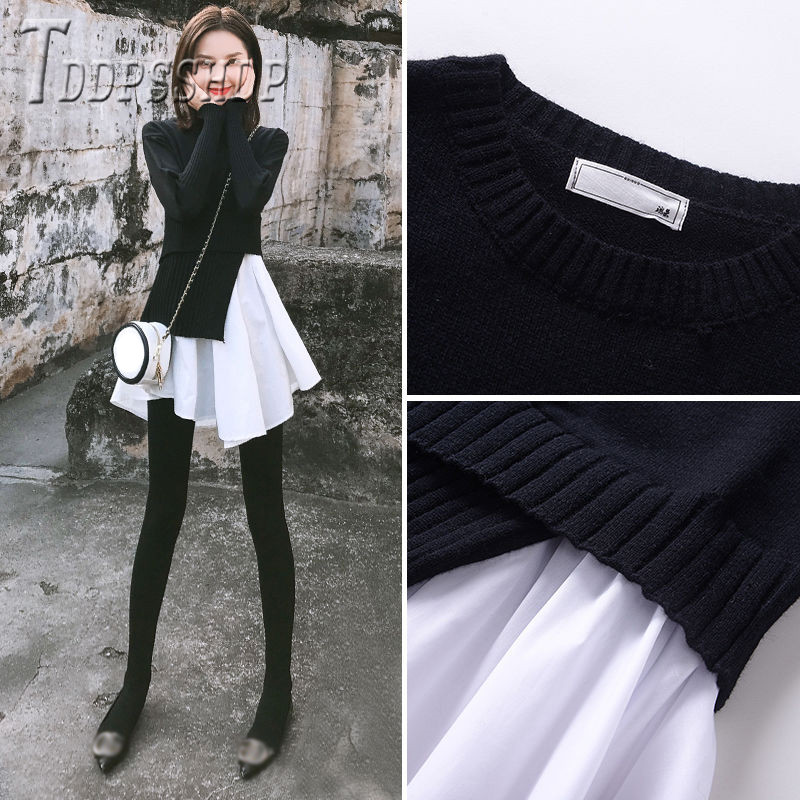 2019 falso dos piezas de remiendo mujeres suéter sudadera coreana suéteres de mujer Suéter de invierno para hombre suéter informal hombre ajustado Jersey de punto