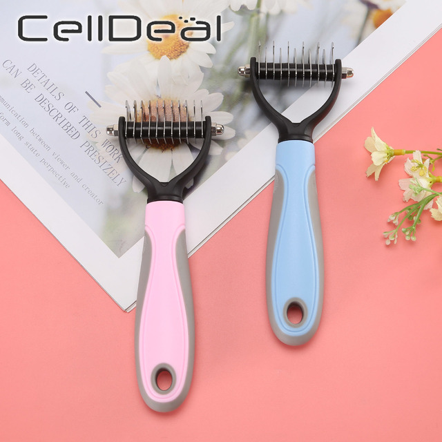 Hair Removal Comb for Dogs Cat Detangler Fur Trimming Dematting Deshedding Brush Grooming Tool For matted Long Hair Curly Pet- 3