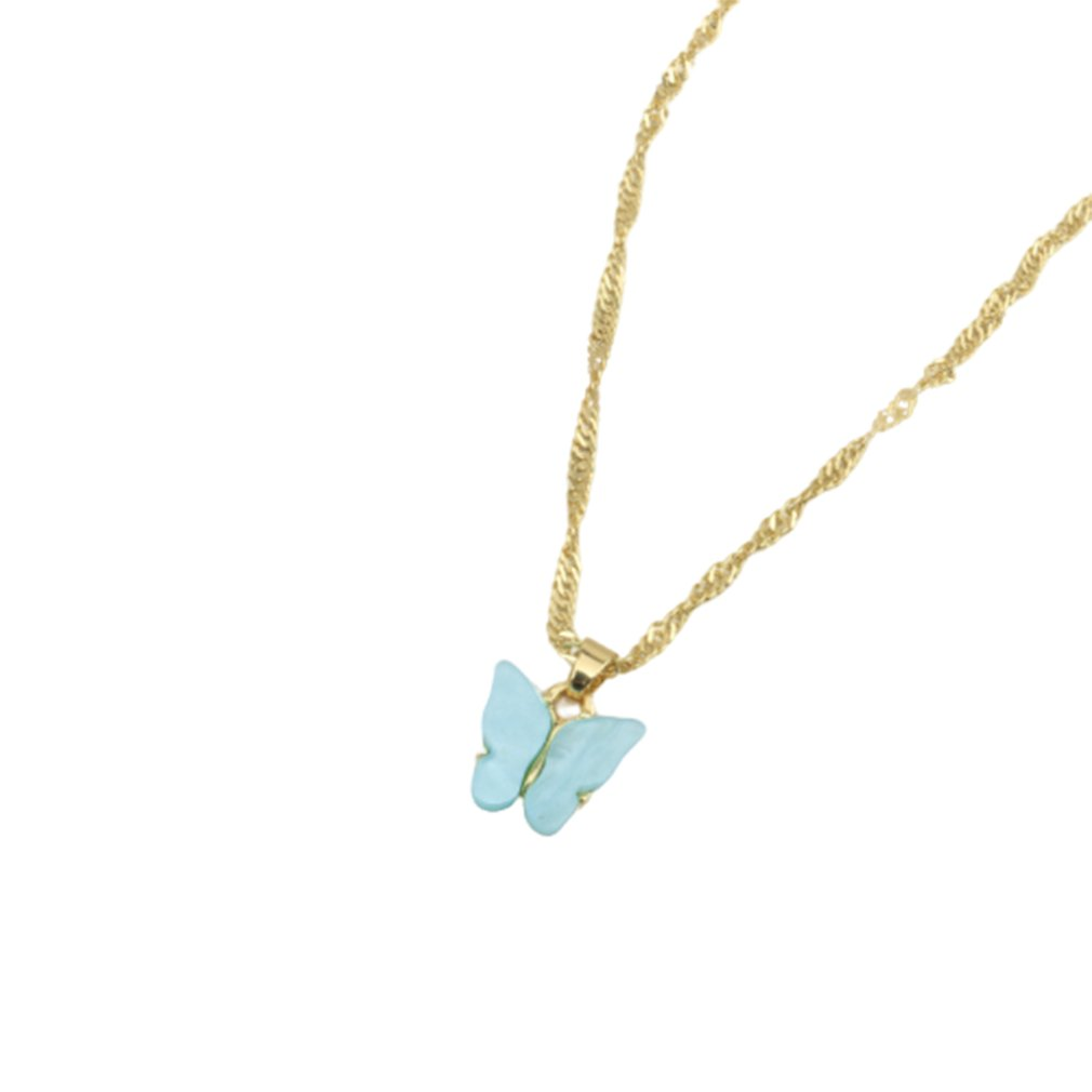 2020 New Design Woman Korean Fashion Beautiful Retro Color Butterfly Necklace Gold Chain Women Pendant Jewelry Gift Choker Party