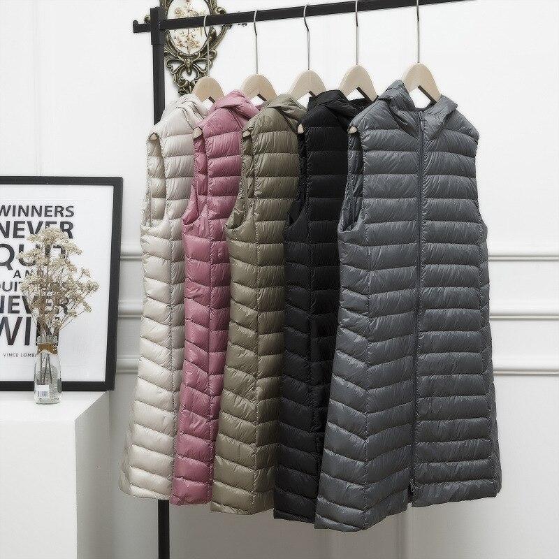 Down Vest Women Long Vest Windproof Lightweight Warm Waistcoat Down Coat Long Slim Sleeveless
