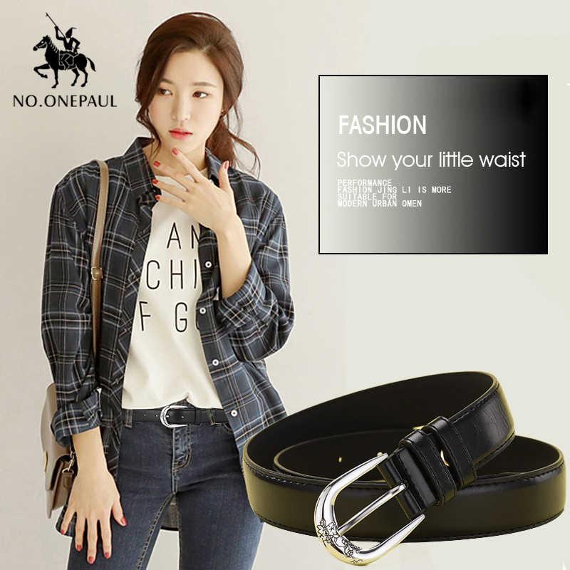 KEINE. ONEPAUL Echtem leder damen casual mode jeans gürtel hohe qualität neue legierung pin schnalle damen schlanke taille retro trend gürtel