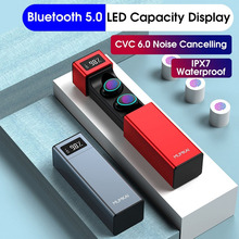 LED Display Noise Canceling Touch Control IPX7 Wireless bluetooth 5.0 Earphone HiFi Headphone Stereo Headset with Microphone syllable g700 stereo bluetooth 4 0 headphone 3 5mm hifi nfc noise cancellation double microphone headset