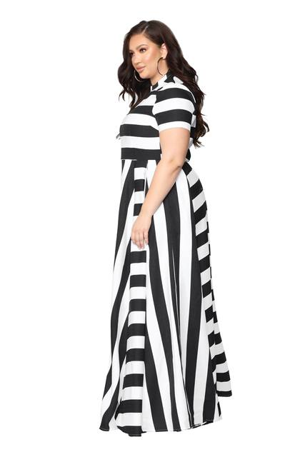 Oversized Women Maxi Short Sleeves Floor Length Casual Dress Plus Size Ladies Summer Stripes Party Tall Beauty Vestido 3