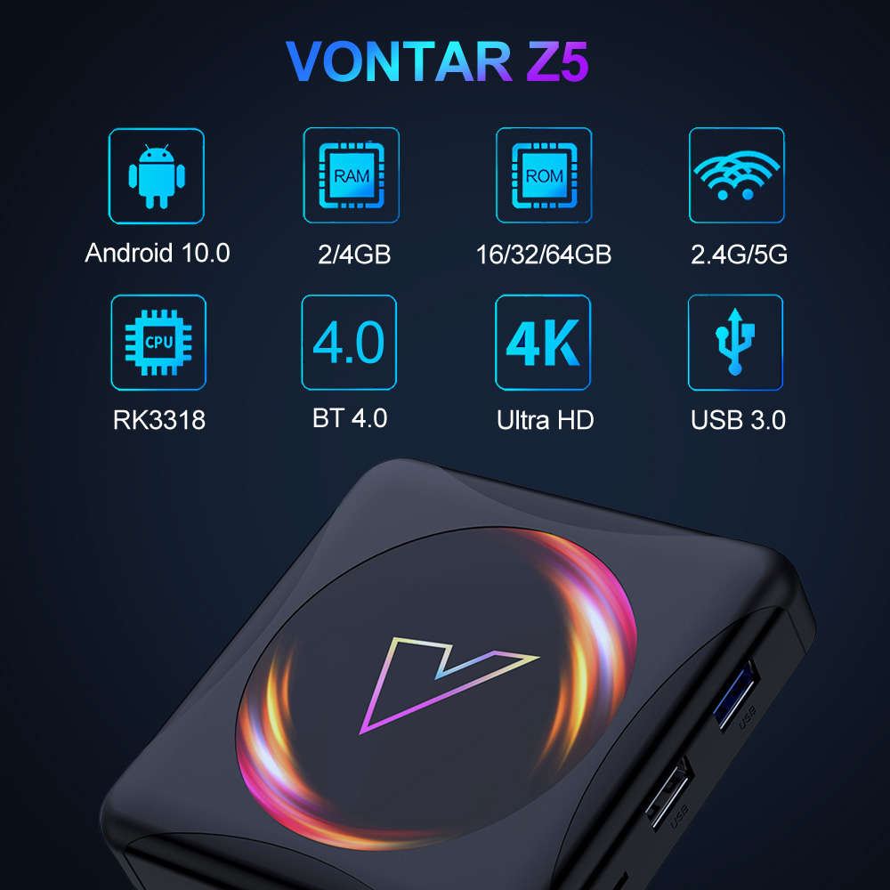 VONTAR Z5 Smart TV Box Android 10 4GB 64GB Rockchip RK3318 USB3.0 1080P H.265 4K Media Player YouTube Android TVBOX Set Top Box