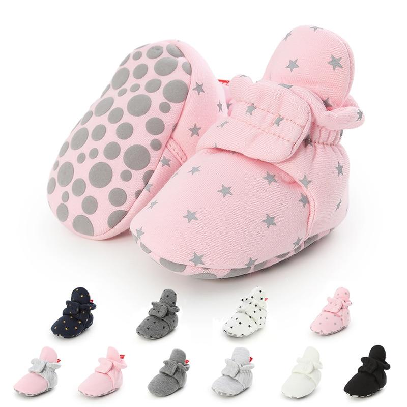 Newborn Boy Girl Baby Ankle Socks Shoes Cute Star Toddler Prewalker Booties Cotton Winter Soft Anti-slip Warm Infant Crib Shoes