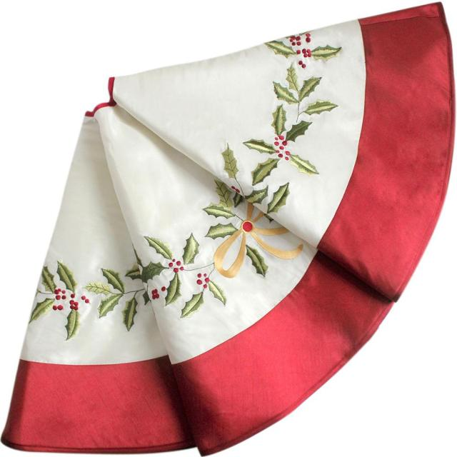 White Faux Silk Holly Leaves Embroidery Christmas tree skirt with red Border Decoration 50 1