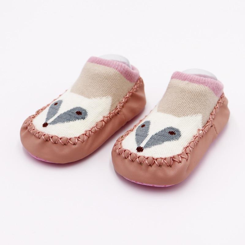 Г. Модные детские носочки с резиновой подошвой, носки для младенцев осенне-зимние детские носки-тапочки для новорожденных нескользящие носки с мягкой подошвой - Цвет: White fox