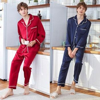 2020 New  silk new men long sleeved pants leisurewear suit manufacturer wholesale 2 suit Shirts + Pants Nighties Sleepwear