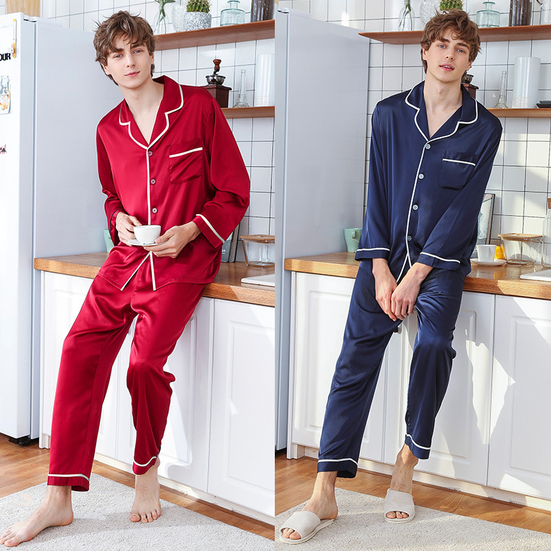 2020 New  Silk New Men Long Sleeved Pants Leisurewear Suit Manufacturer Wholesale In Spring And Summer